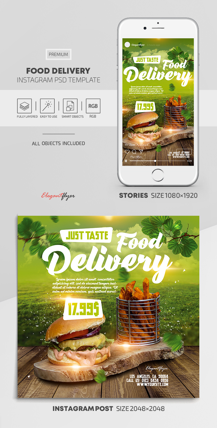 Food Delivery – Instagram Stories Template in PSD + Post Templates