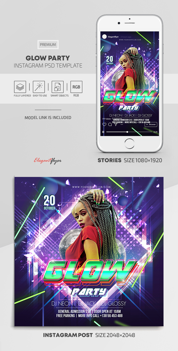Glow Party – Instagram Stories Template in PSD + Post Templates