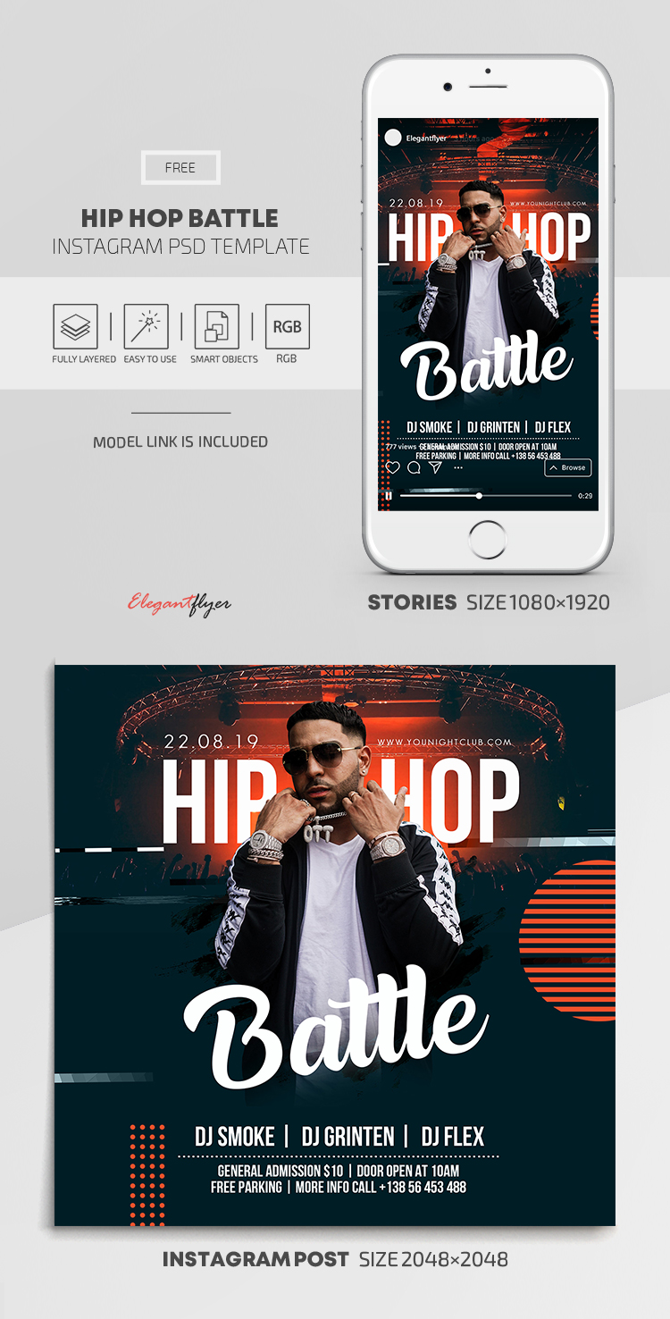Hip Hop Battle – Free Instagram Stories Template in PSD + Post Templates