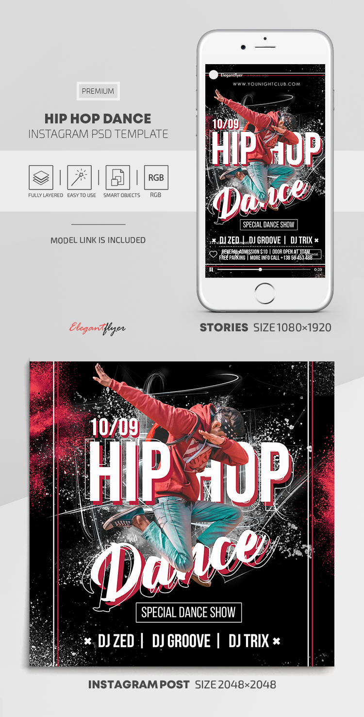 Hip Hop Dance – Instagram Stories Template in PSD + Post Templates