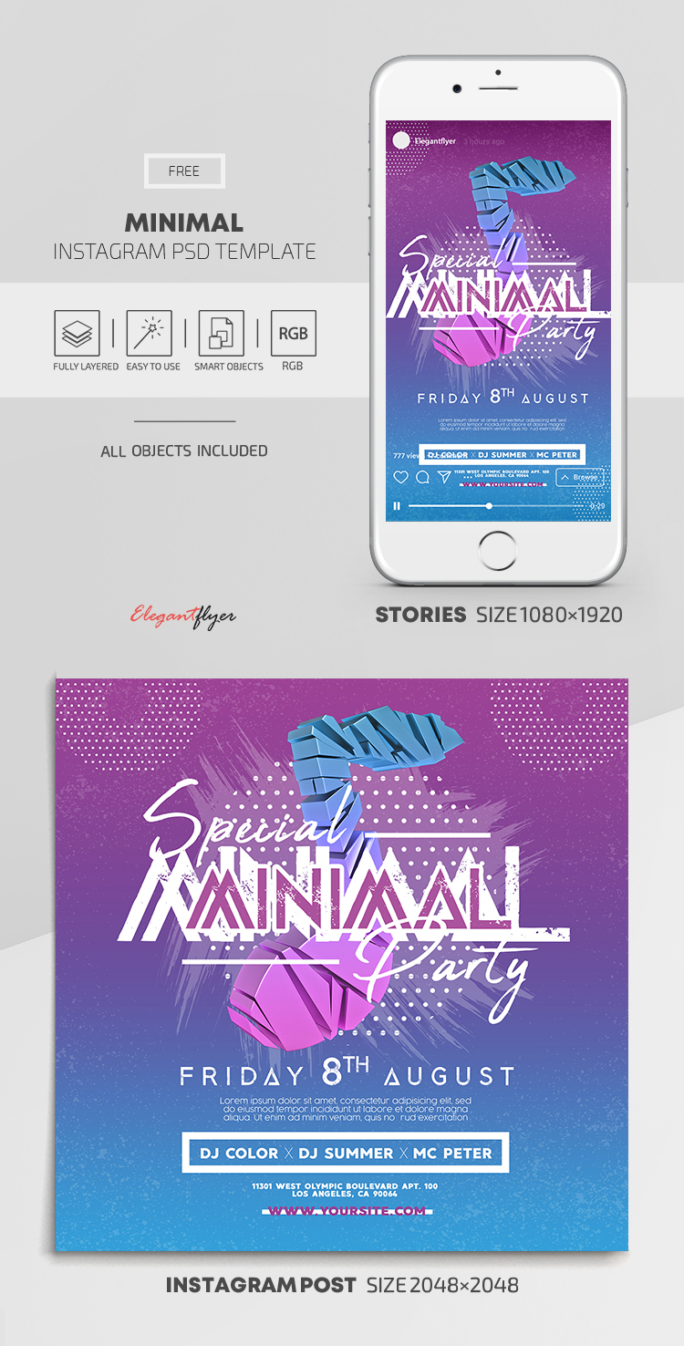 Minimal – Free Instagram Stories Template in PSD + Post Templates