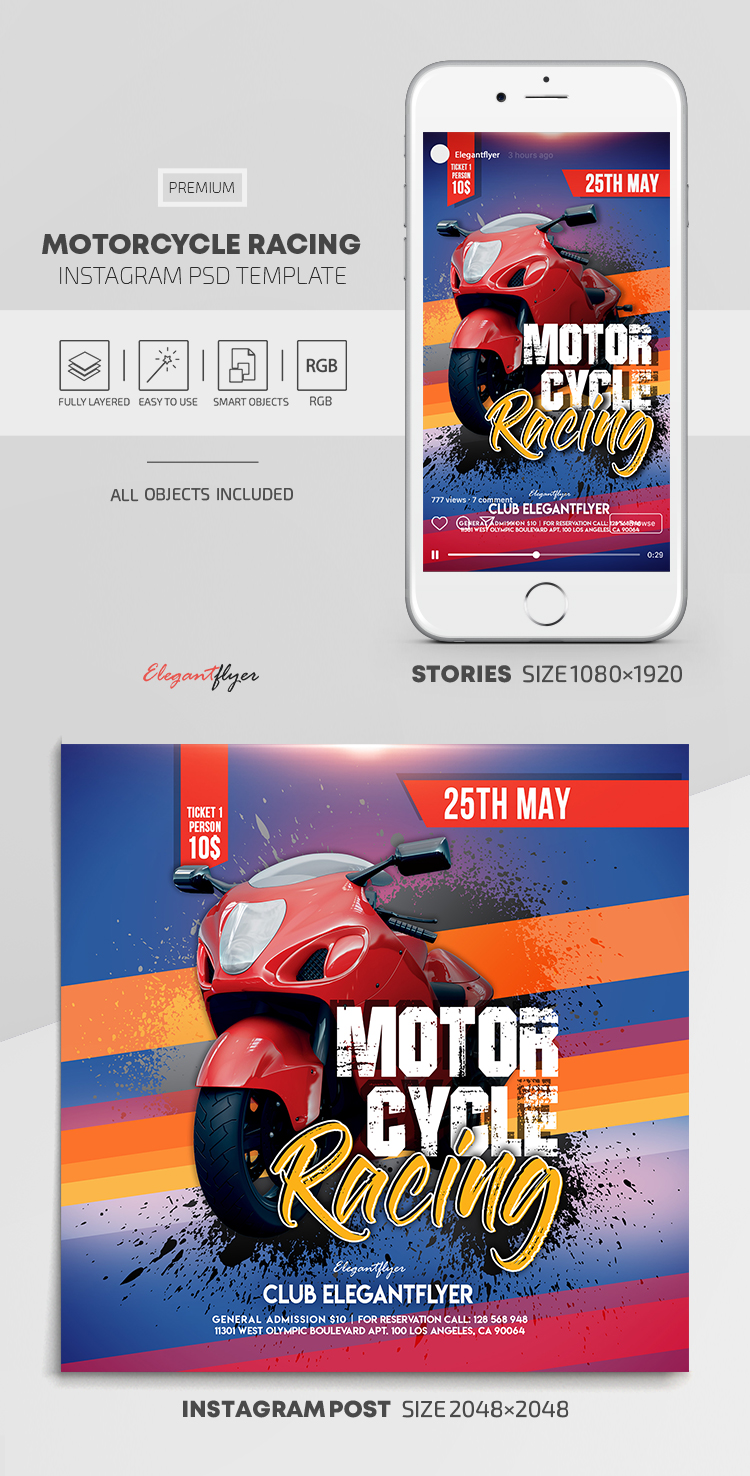 Motorcycle Racing – Instagram Stories Template in PSD + Post Templates