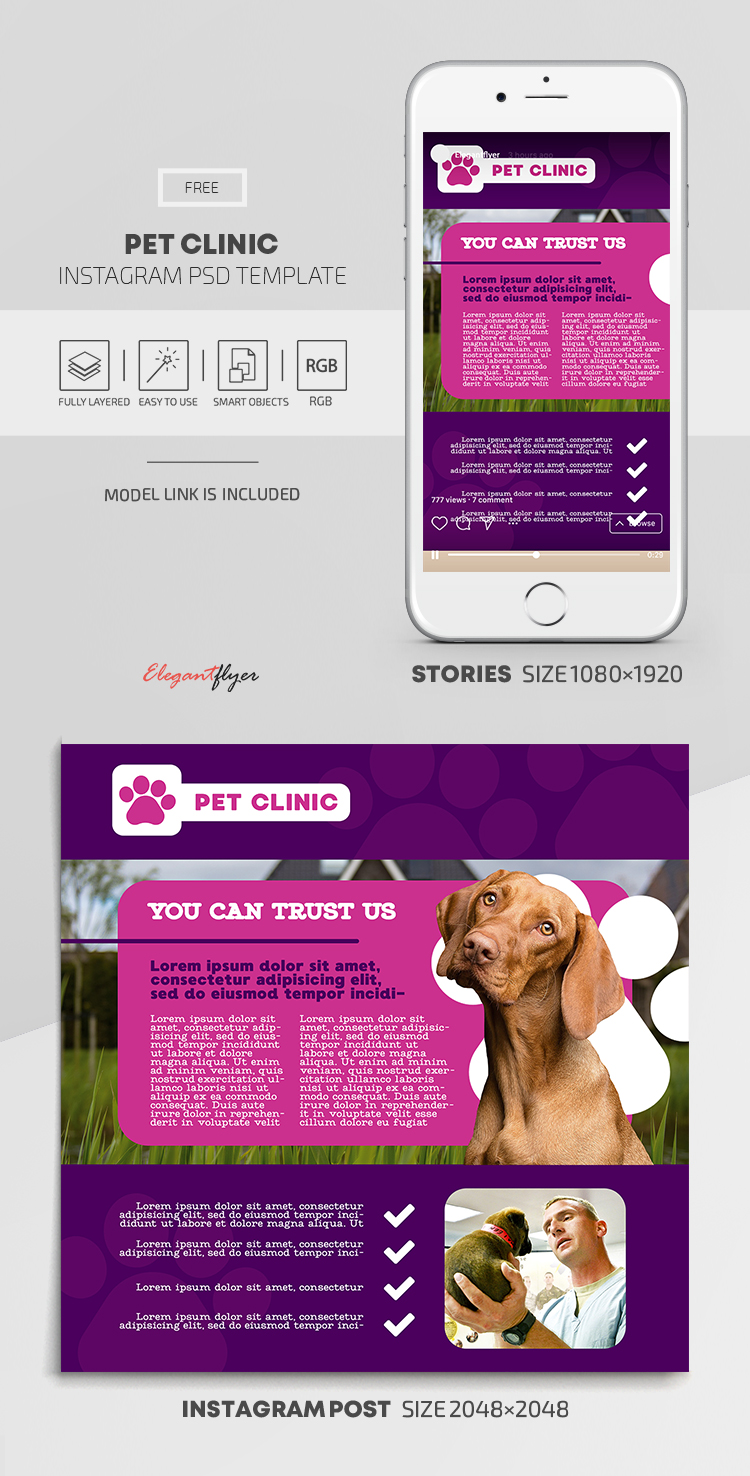 Pet Clinic – Free Instagram Stories Template in PSD + Post Templates
