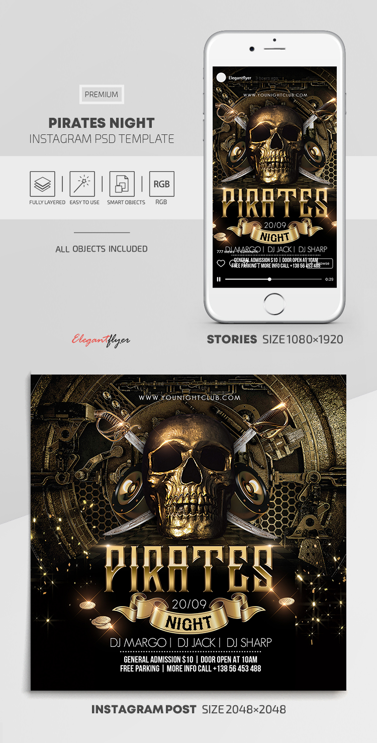 Pirates Night – Instagram Stories Template in PSD + Post Templates