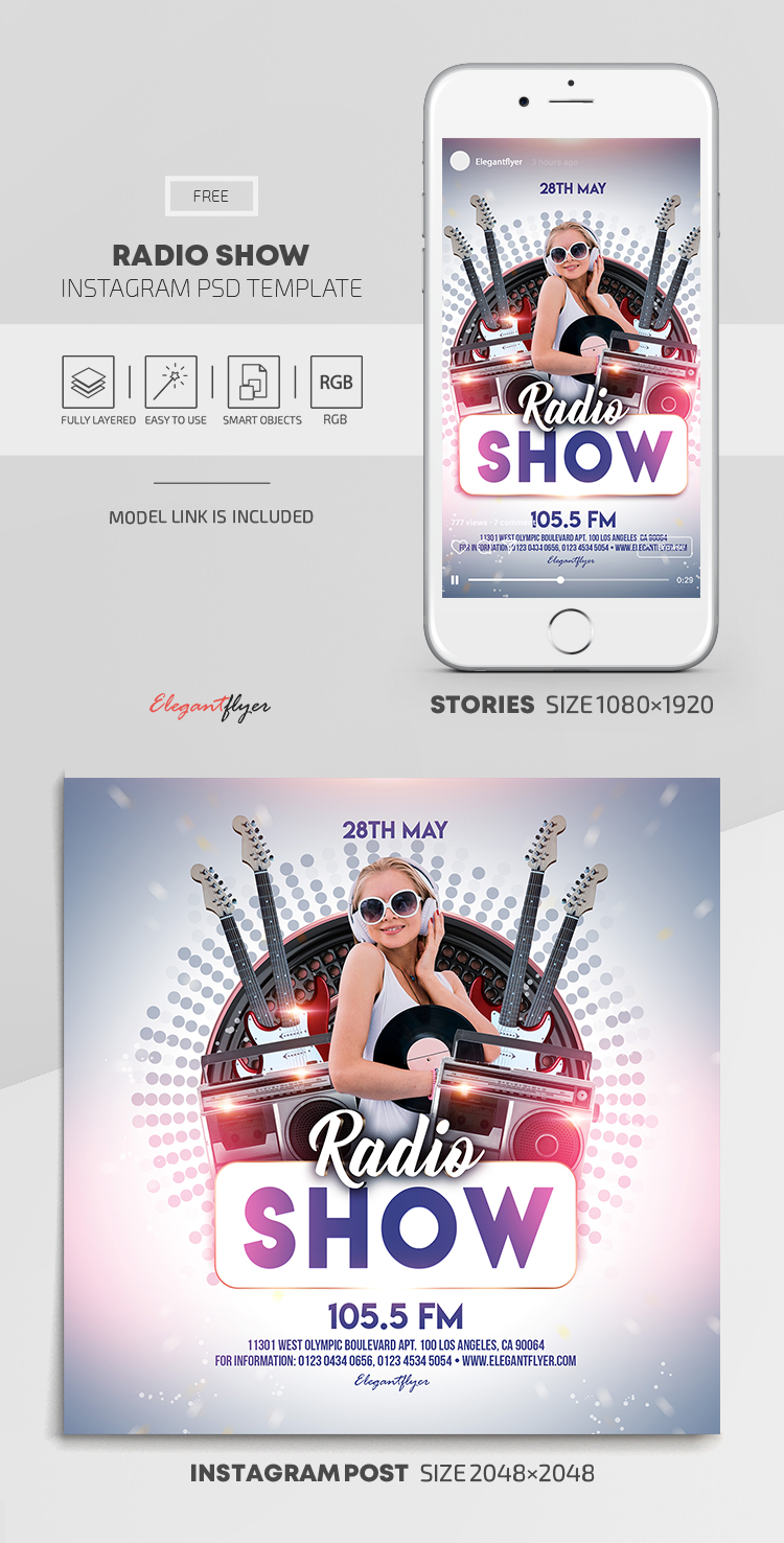 Radio Show – Free Instagram Stories Template in PSD + Post Templates