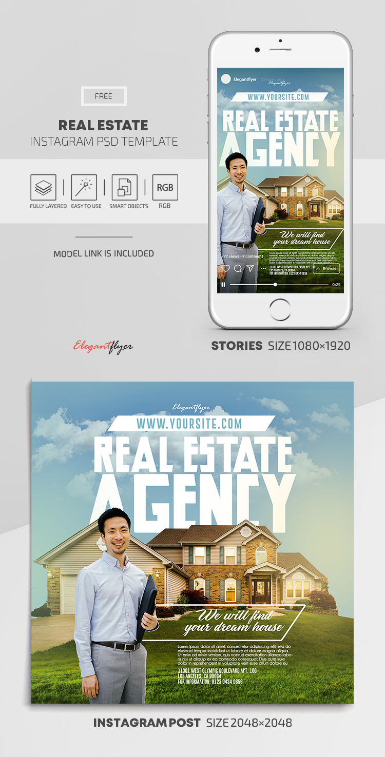Real Estate – Free Instagram Stories Template in PSD + Post Templates