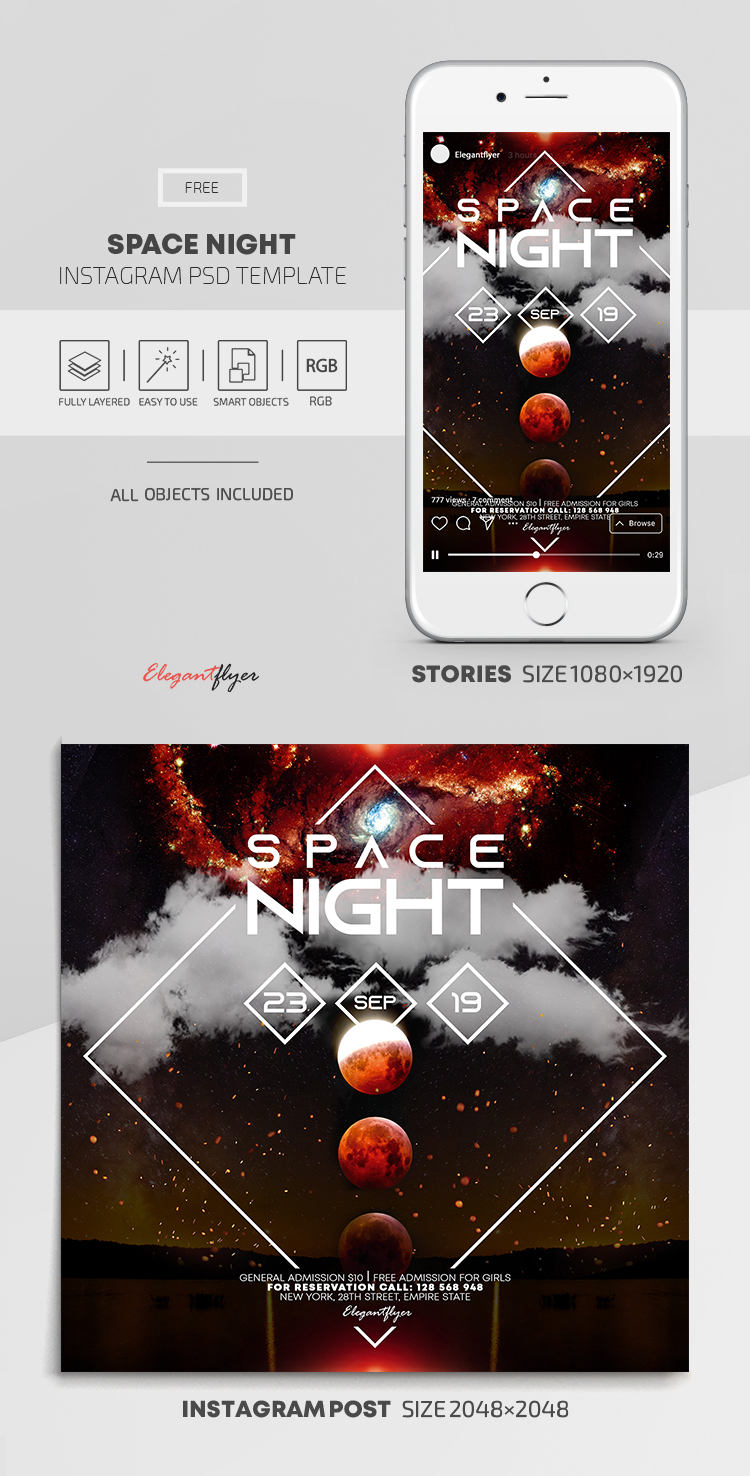 Space Night – Free Instagram Stories Template in PSD + Post Templates