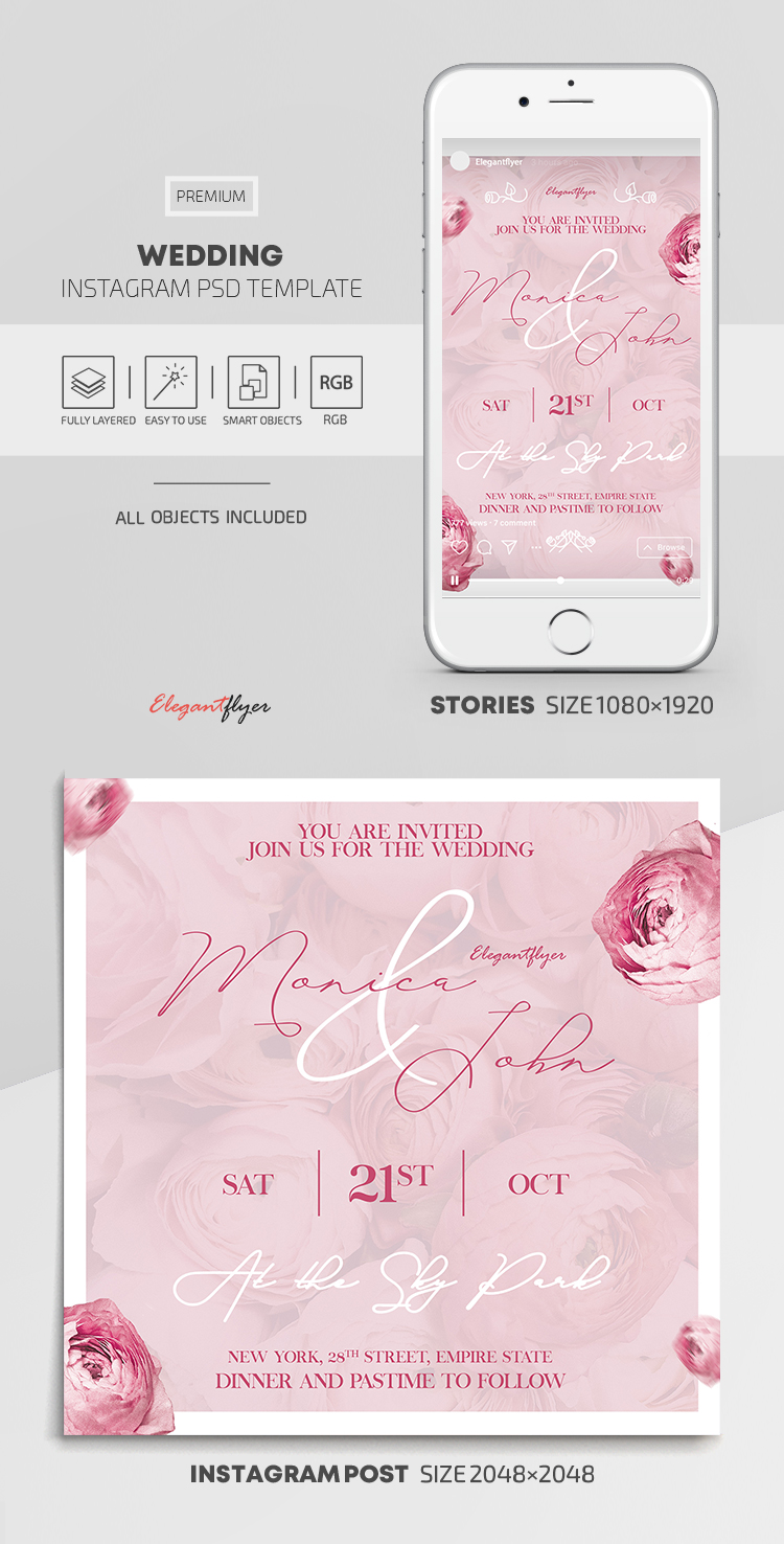 Wedding – Instagram Stories Template in PSD + Post Templates