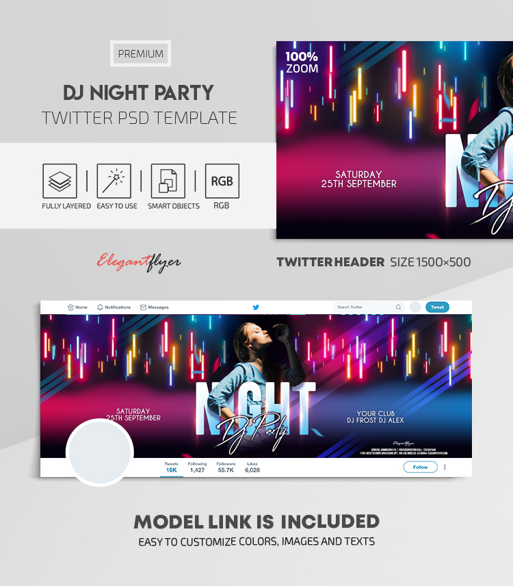 Dj Night Party – Twitter Header PSD Template