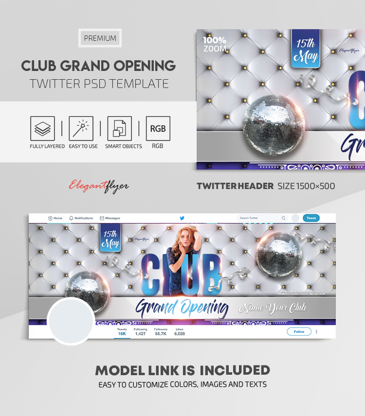 Club Grand Opening – Twitter Header PSD Template