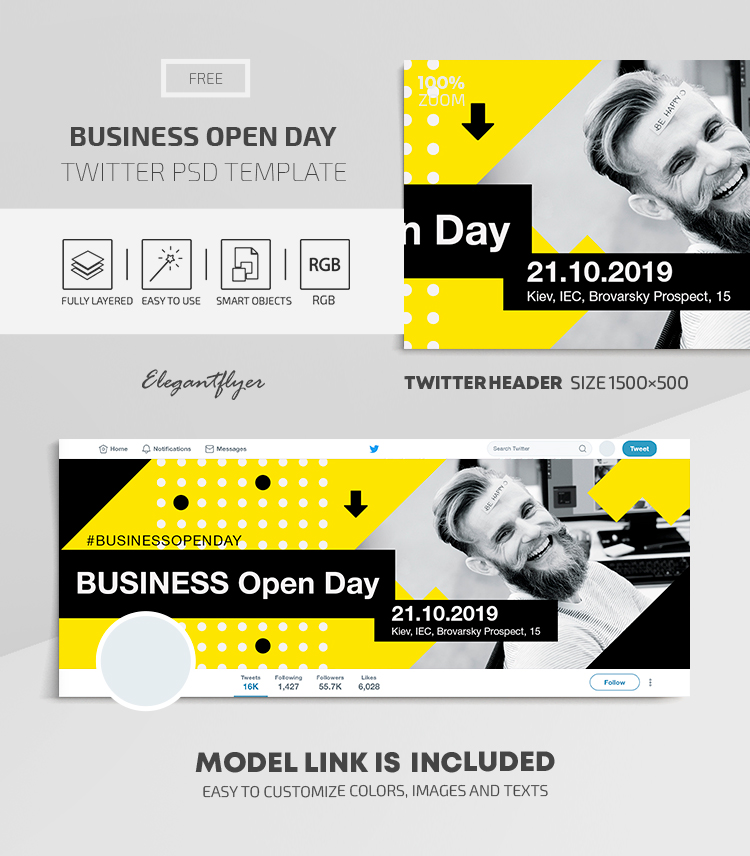 Business Open Day – Twitter Header FREE PSD Template