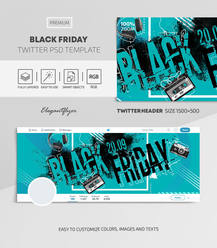 Black Friday – Twitter Header PSD Template