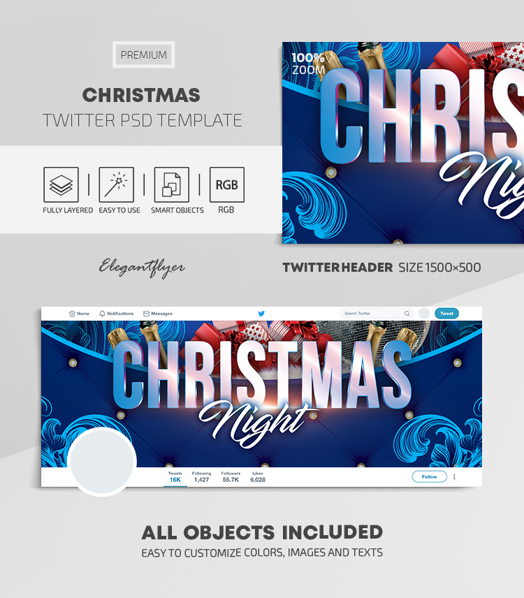 Christmas – Twitter Header PSD Template