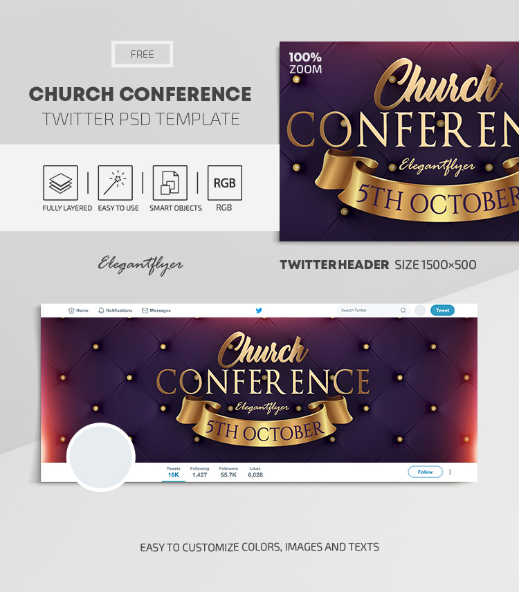 Church Conference – Free Twitter Header PSD Template