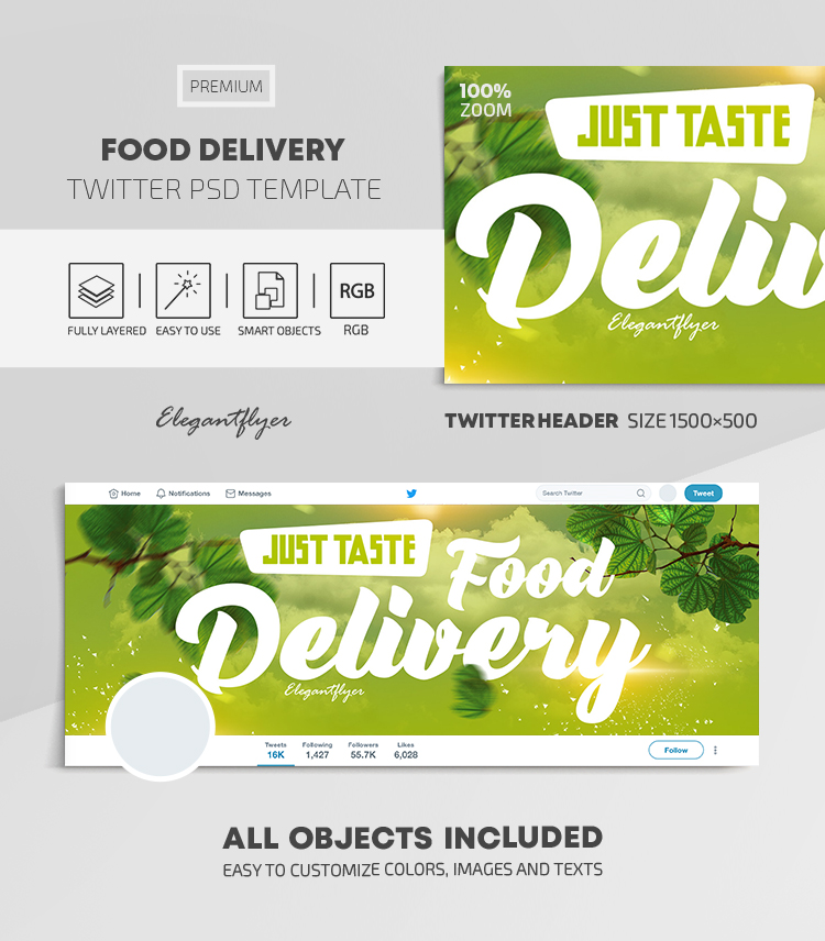 Food Delivery – Twitter Header PSD Template
