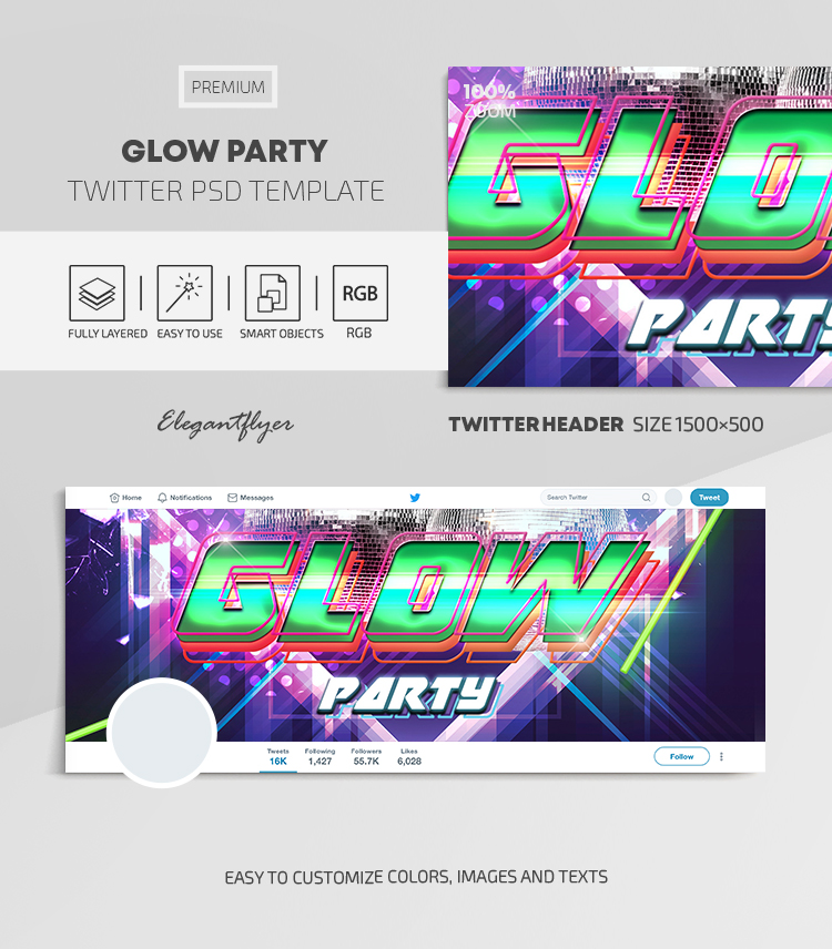 Glow Party – Twitter Header PSD Template