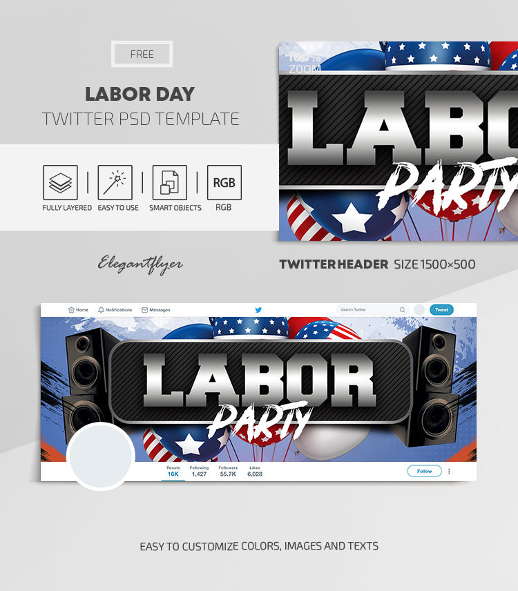 Labor Day – Free Twitter Header PSD Template