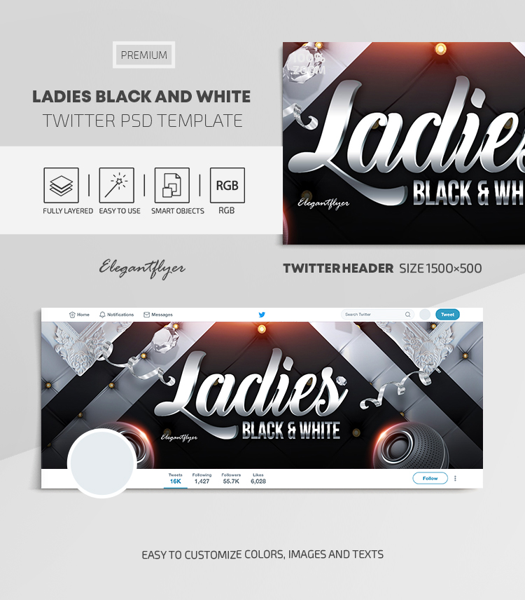 Ladies Black and White – Twitter Header PSD Template
