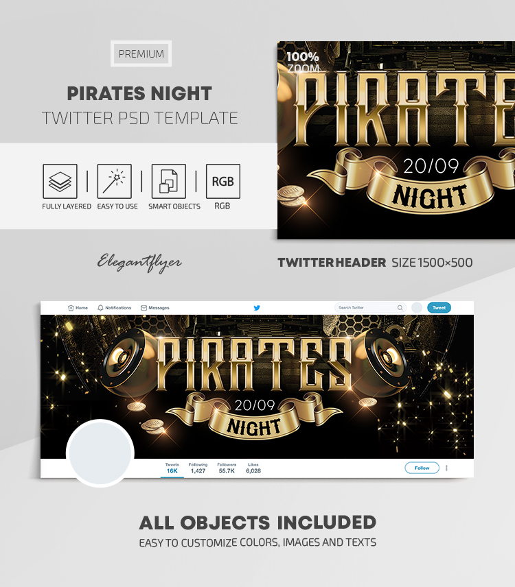 Pirates Night – Twitter Header PSD Template
