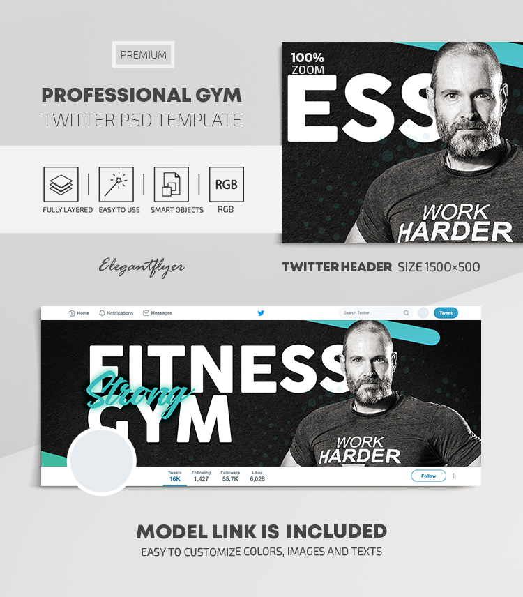 Professional GYM – Twitter Header PSD Template