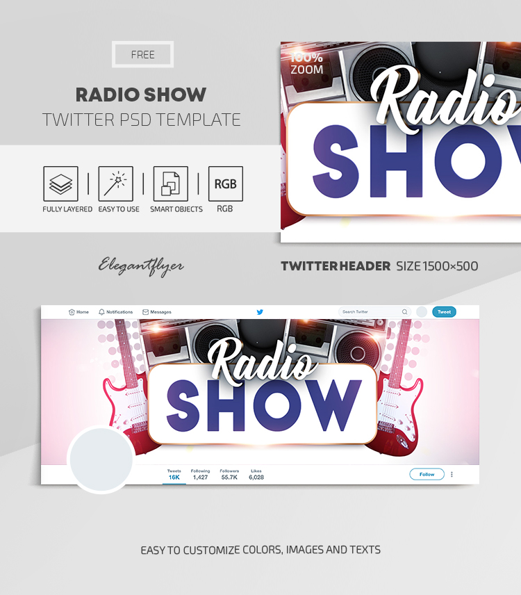 Radio Show – Free Twitter Header PSD Template