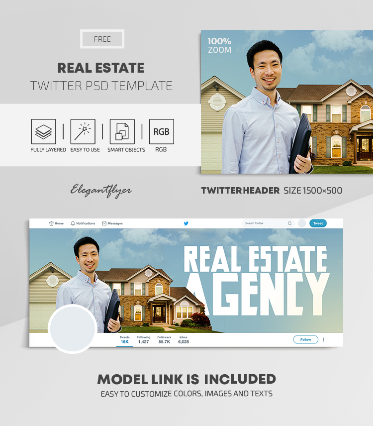 Real Estate – Free Twitter Header PSD Template