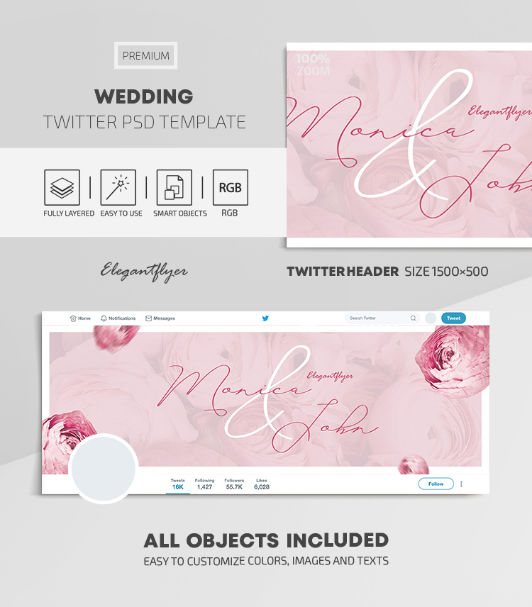 Wedding – Twitter Header PSD Template