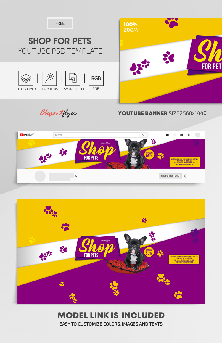 Shop for Pets – Free Youtube Channel banner PSD Template