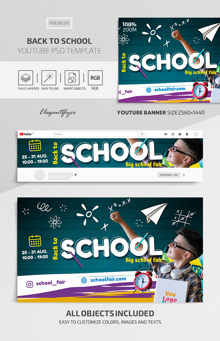 Back to School – Youtube Channel banner Premium PSD Template
