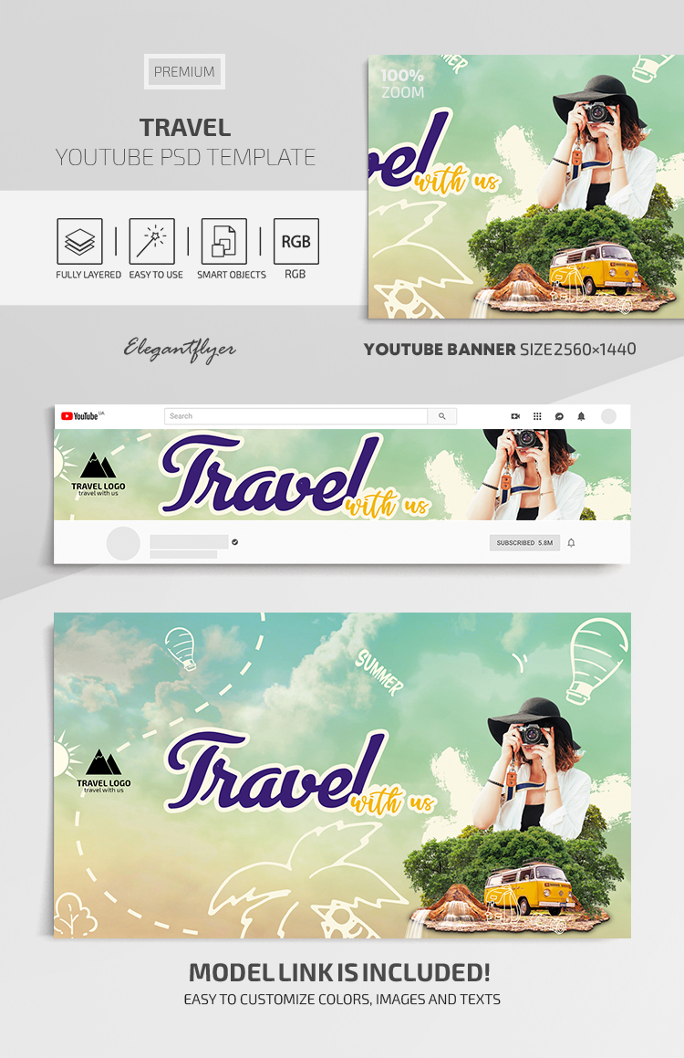 Travel – Youtube Channel banner Premium PSD Template
