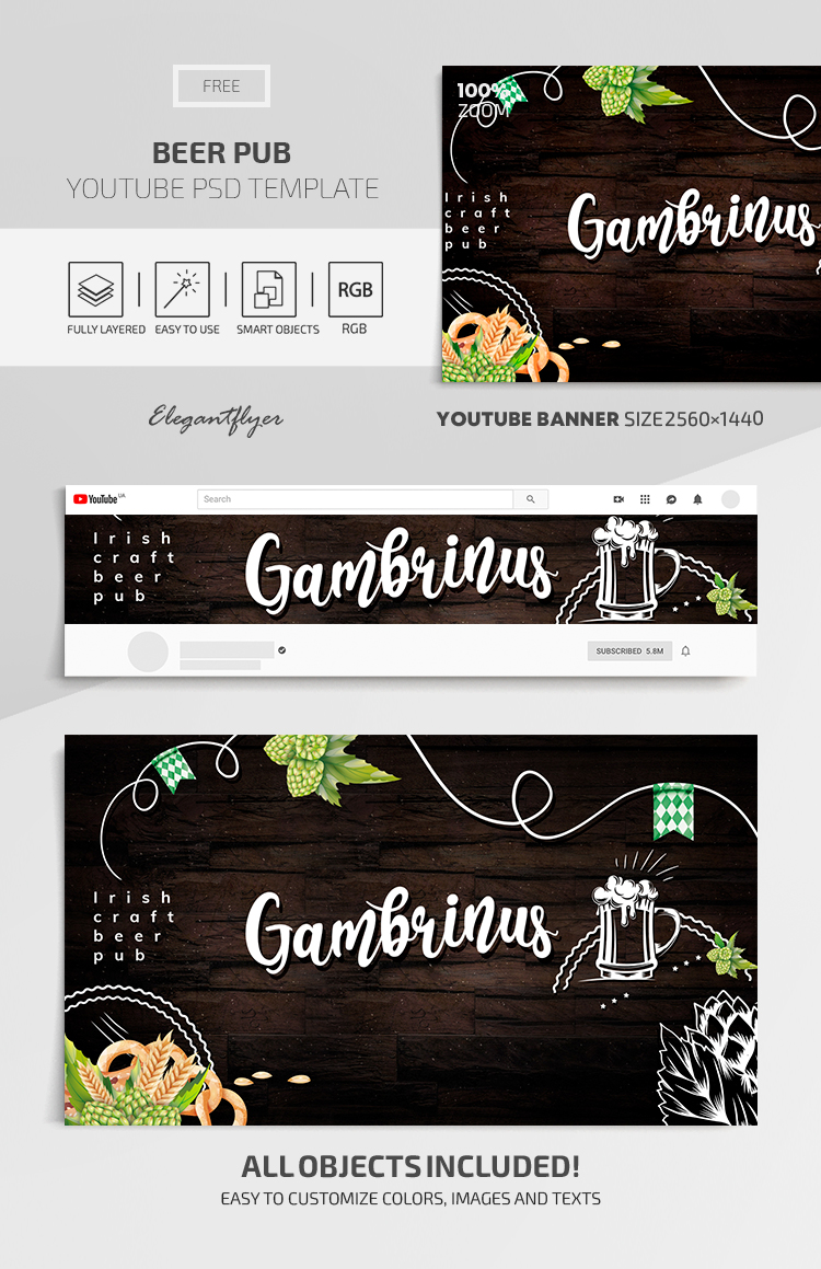 Beer Pub – Youtube Channel banner FREE PSD Template
