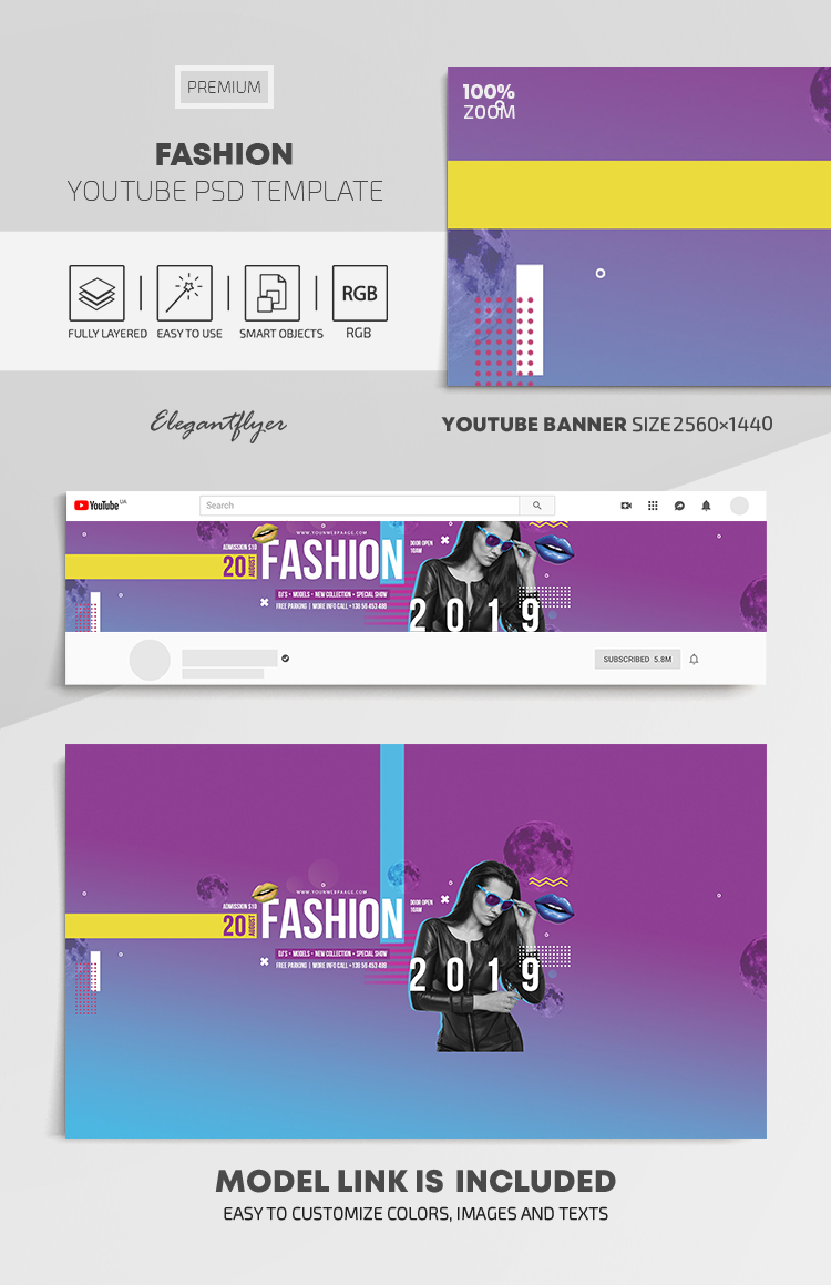 Fashion – Youtube Channel banner PSD Template