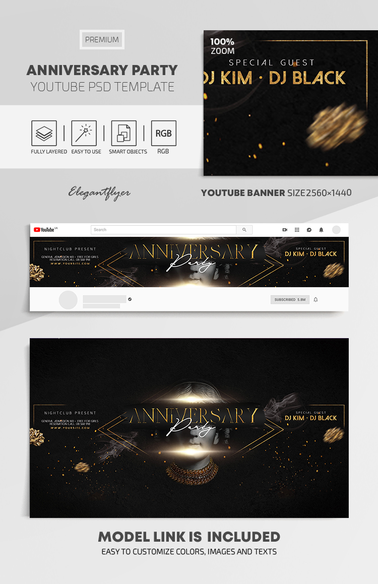 Anniversary Party – Premium Youtube Channel banner PSD Template