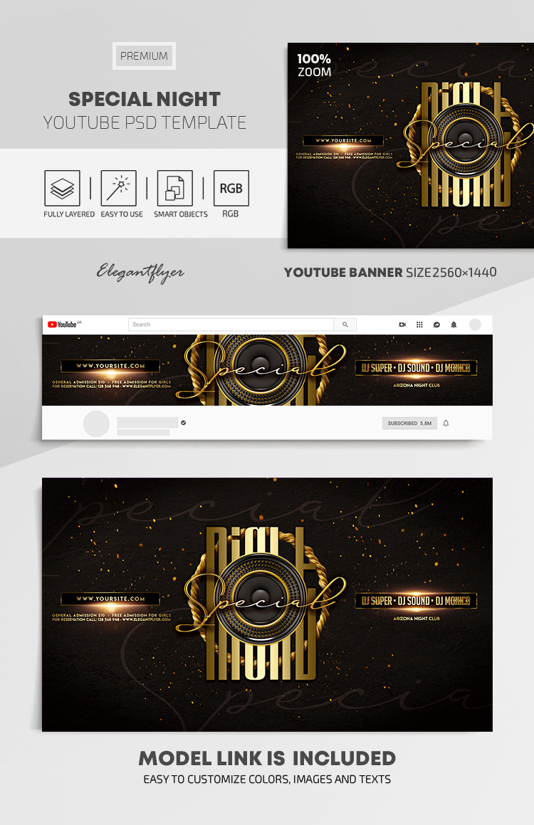 Special Night – Youtube Channel banner PSD Template