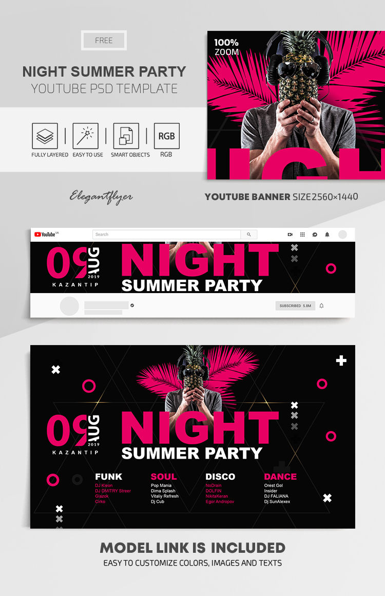 Night Summer Party – Free Youtube Channel banner PSD Template