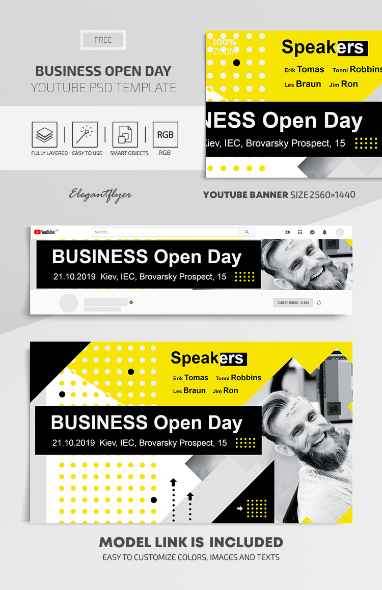 Business Open Day – Youtube Channel banner FREE PSD Template