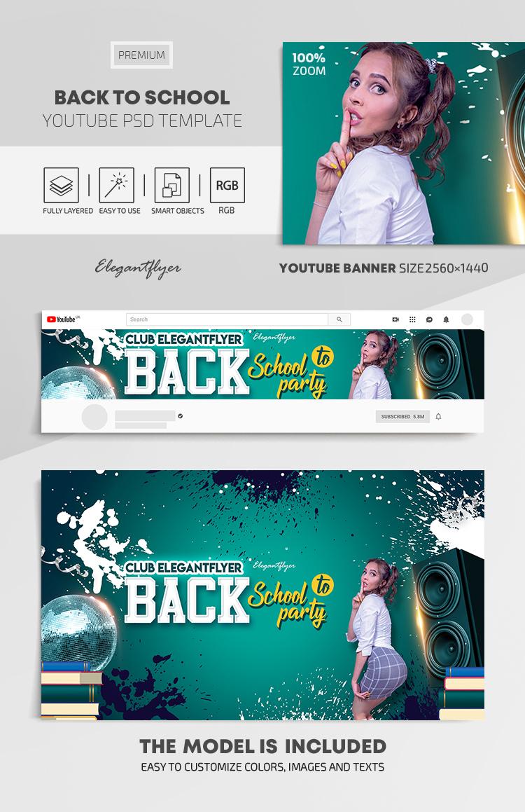 Back to School – Youtube Channel banner PSD Template
