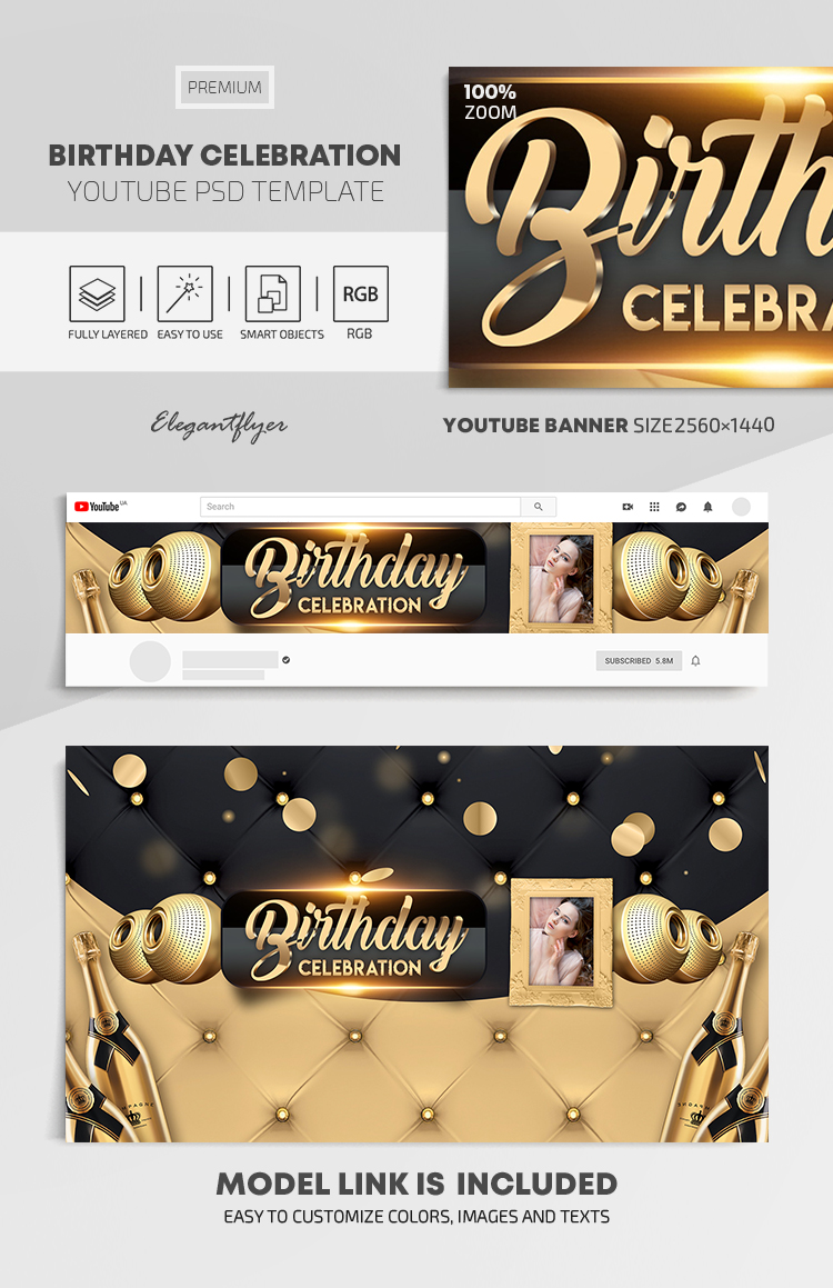 Birthday Celebration – Youtube Channel banner PSD Template