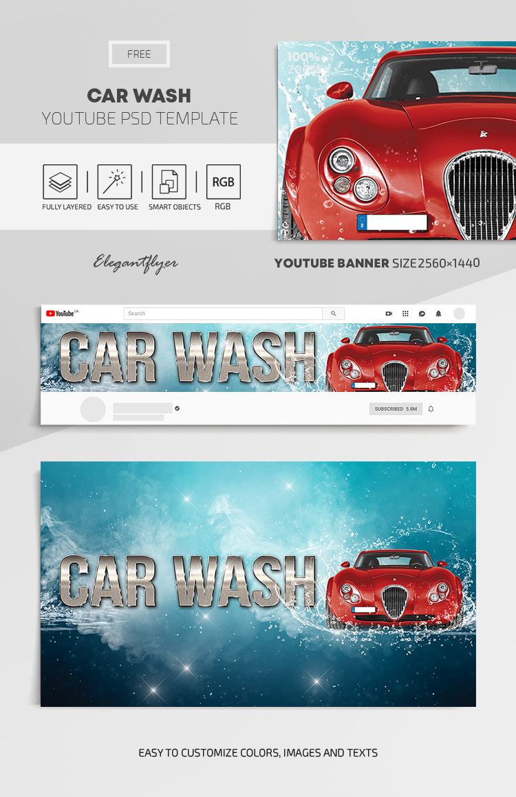 Car Wash – Free Youtube Channel banner PSD Template