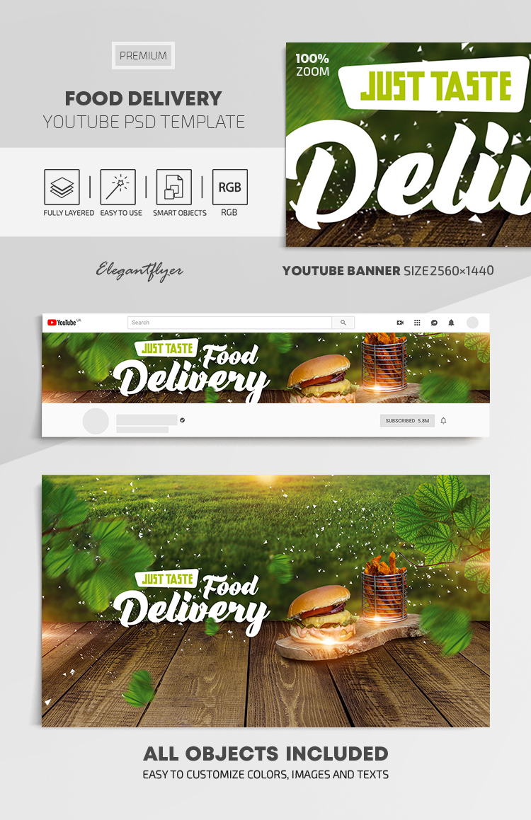 Food Delivery – Youtube Channel banner PSD Template