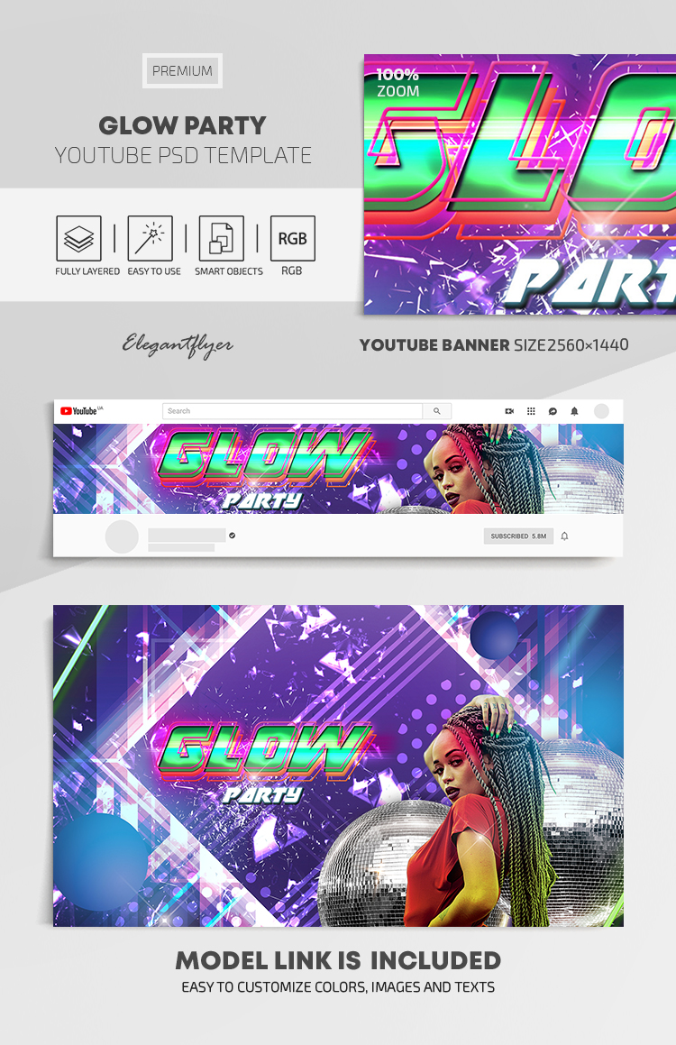 Glow Party – Youtube Channel banner PSD Template