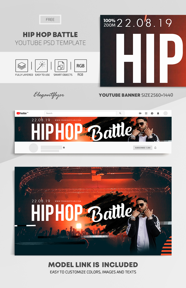 Hip Hop Battle – Free Youtube Channel banner PSD Template