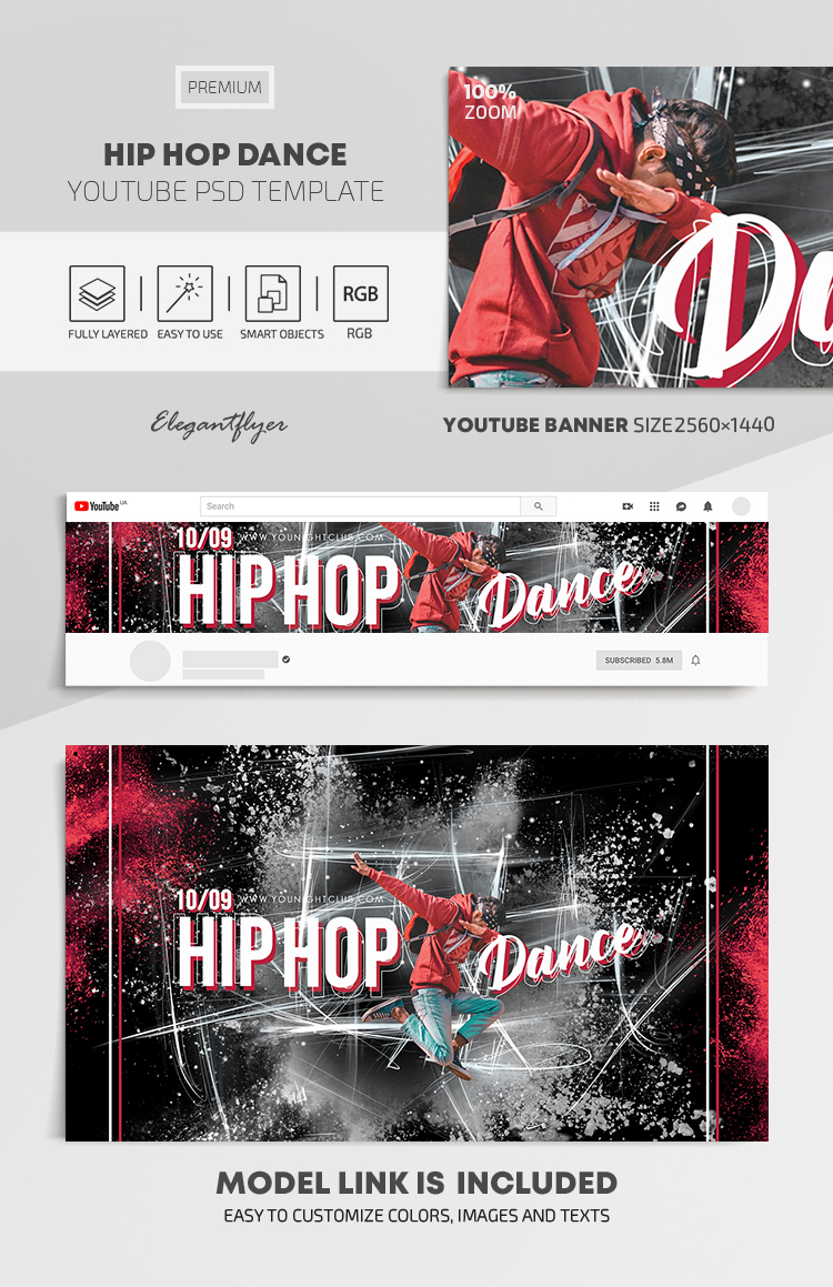 Hip Hop Dance – Youtube Channel banner PSD Template