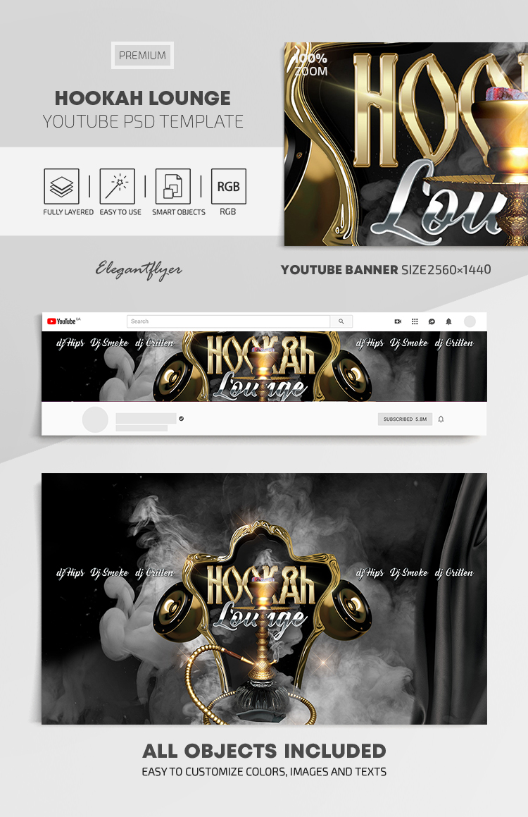 Hookah Lounge – Youtube Channel banner PSD Template