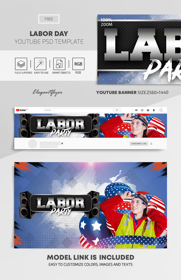 Labor Day – Free Youtube Channel banner PSD Template