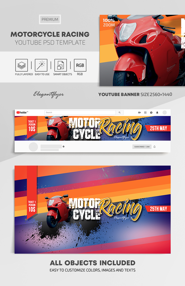 Motorcycle Racing – Youtube Channel banner PSD Template