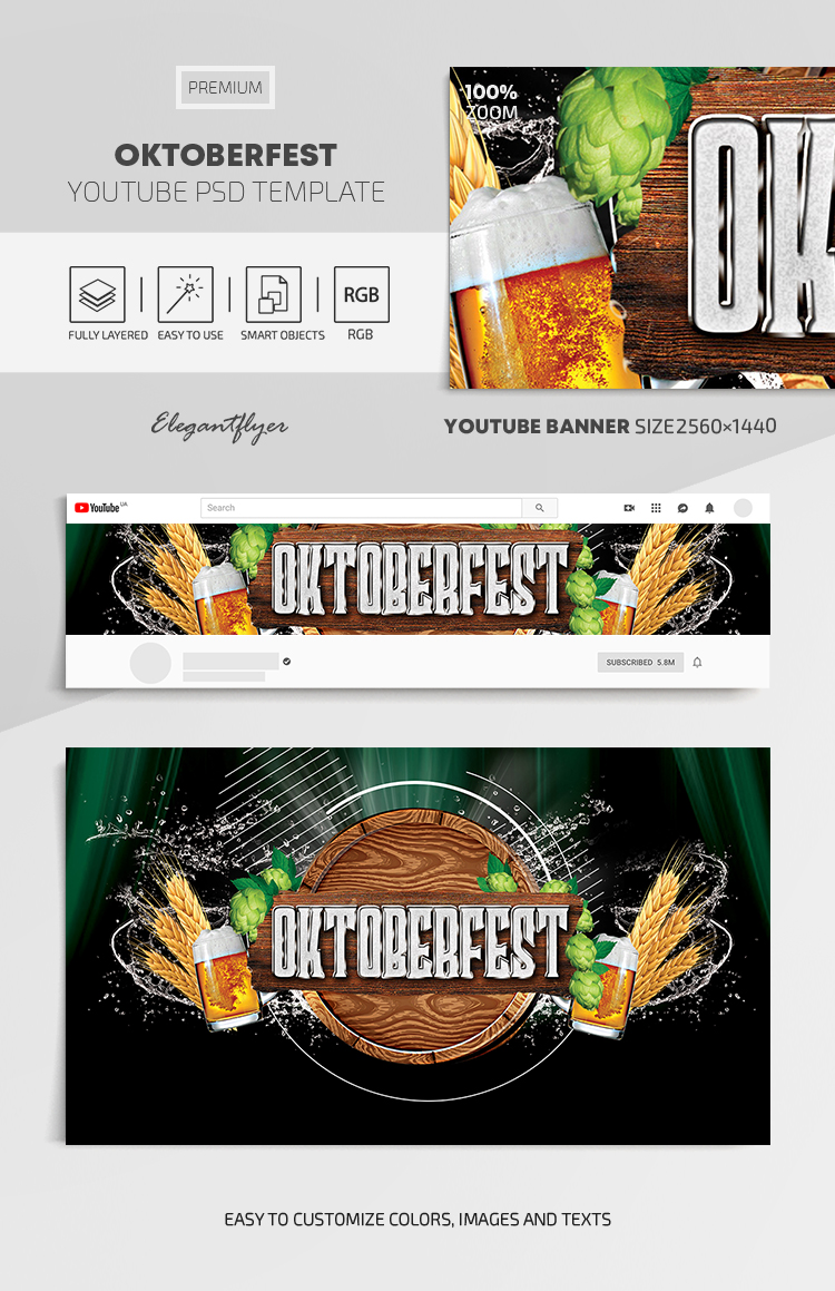 Oktoberfest – Youtube Channel banner PSD Template
