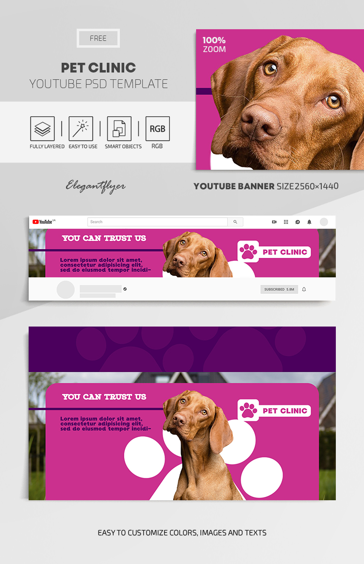 Pet Clinic – Free Youtube Channel banner PSD Template