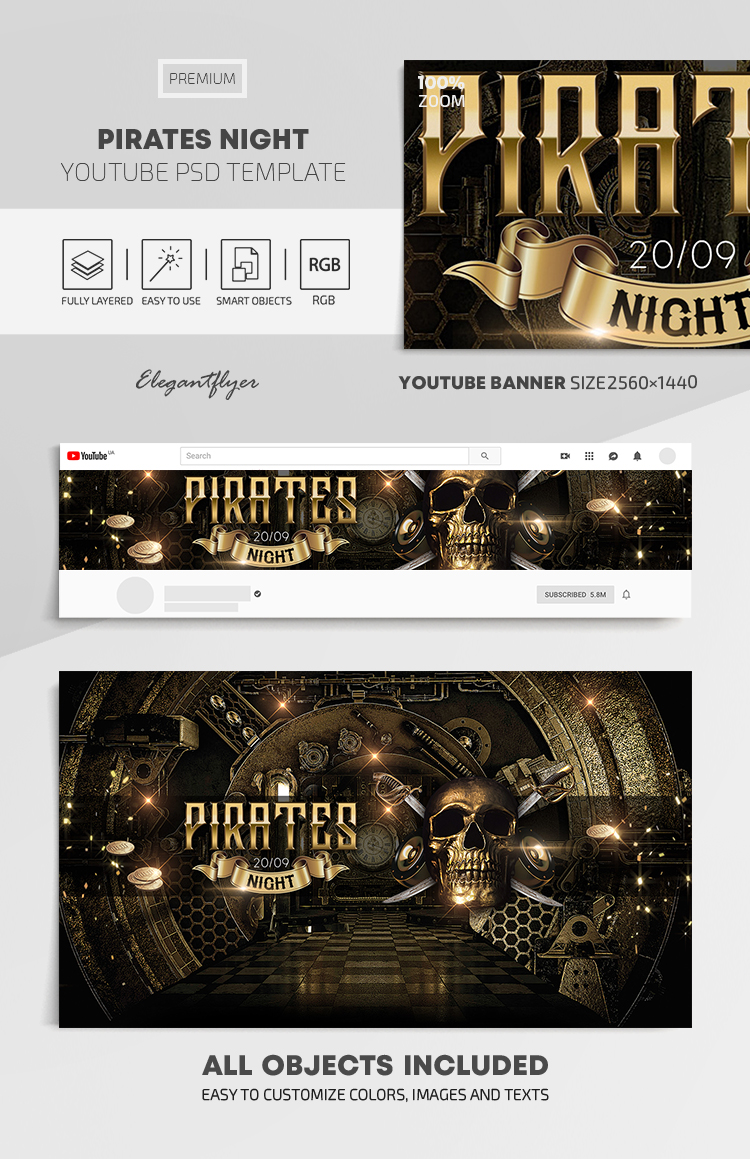 Pirates Night – Youtube Channel banner PSD Template