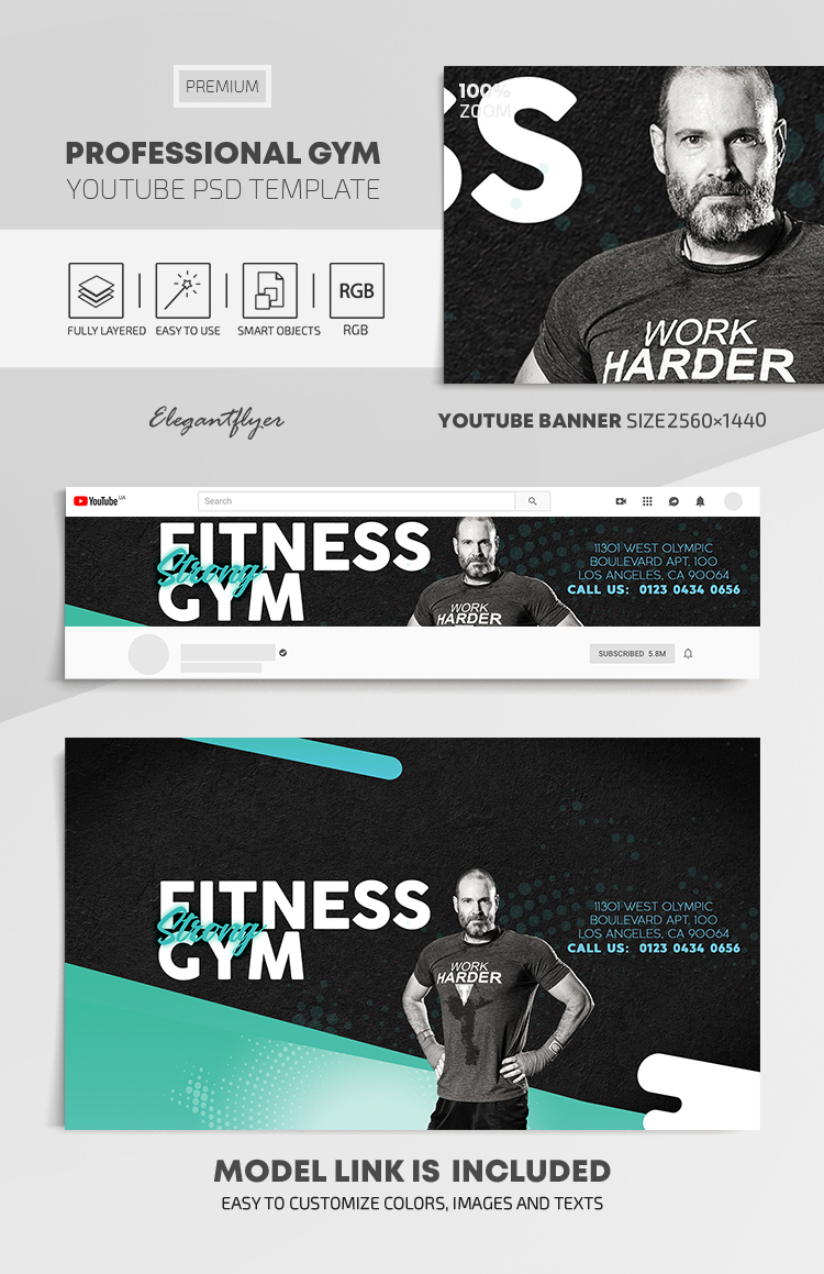 Professional GYM – Youtube Channel banner PSD Template